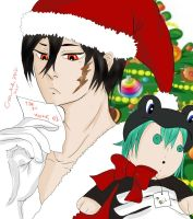 Santa Xanxus and Belphegor's List Colored by marikit