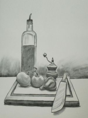Cooking Still Life - Charcoal by HannibalHasmat