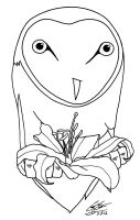 The Owl And Lily - Line Work by CoreyEacret
