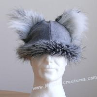 Wolf hat with furry ears by Mystic-Creatures