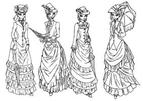 Victorian Outing - line art by lady-of-crow