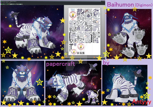 Baihumon Digimon papercraft by Antyyy