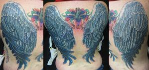 Blue Wings Backpiece by INK-SL1NG3R