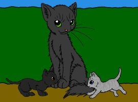 Graystripe, Stormkit, and Featherkit by DemonicVampyreWolf