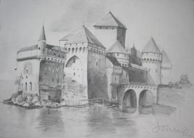 Castle Pencil drawing 100x70 by SoniaSh