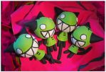 Happy Green Cat Dolls by bezzalair