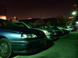 Cars at night by Guile93