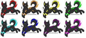 Neon Wolf Adoptables CLOSED by Lionheart1o1