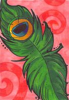 ACEO-- Peacock Feather by Dinnercakes