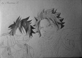 Luffy and Natsu - 2. Step by Monstacookie