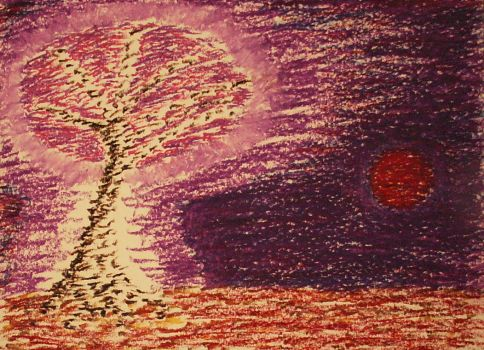 A Sakura Tree in the Night of the Red Moon by IvanRadev