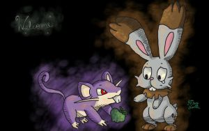 Bunnelby and Rattata by ChibiWendy