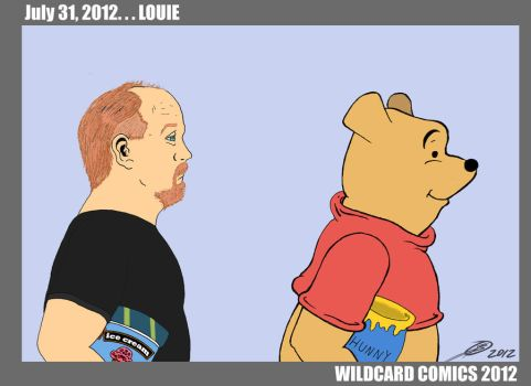 Louie C K as Winnie The Pooh by wildcardcomics