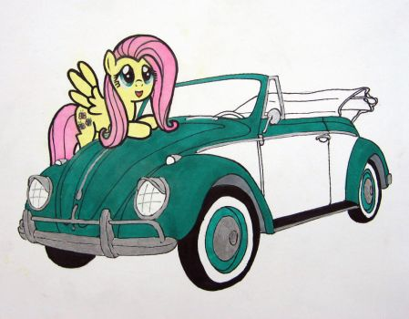 Fluttershy and Her Beetle by Patridam
