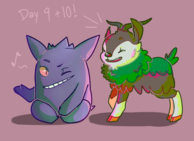 Day 9 and 10: Gengar and Skiddo by Tokiball12345