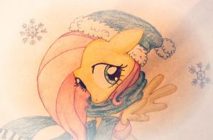 Fluttershy in the snow by Babel-the-Butt