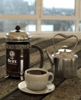 3D French Press and coffee 02 by otas32