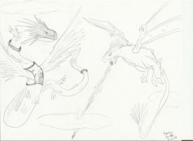 Wyvern VS Quetzalcoatl. by Gryphomon
