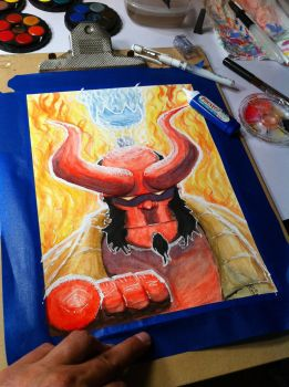 Hellboy Water Color by bamf27art