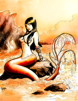 The Maidens Pin Up Mermaid on Rock final by AurynPub