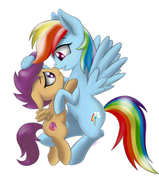 Scootaloo and Rainbow Dash by SallemCat
