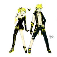 Kagamines - Grunge Yellow (concept) by OoAmmyoO