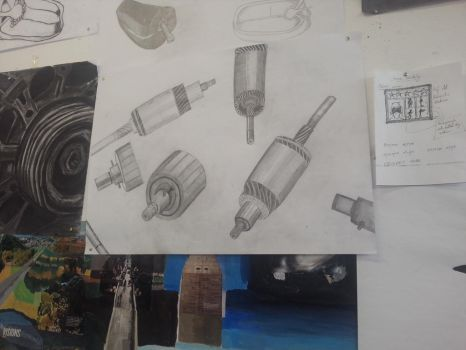 Pencil Sketch of a Motor Piece by Pika-Productions