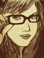 girl with thick rimmed glasses by sootball