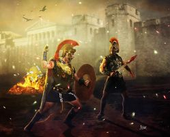 Achilles vs Prince Hector of Troy by Julianez