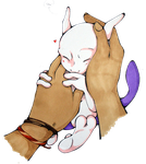 Tiny Mewtwo cuddles by Franken-Fish