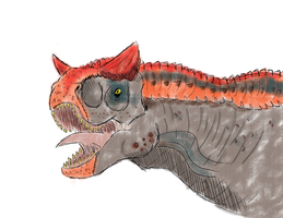 Primal Carnage Carnotaurus Sketch by T-Reqs