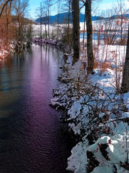 Quiet river in winter time by patrickjobst