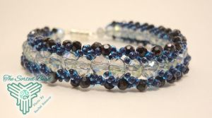Blue Flat Spiral Bracelet by TheSortedBead