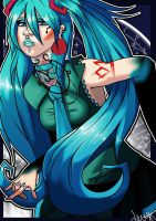 Death Metal Miku by loulaLETHAL