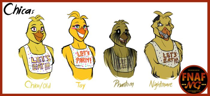 FNAFNG_Chica Versions by NamyGaga