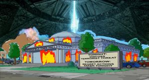 ID4 Ship Blowing up Springfield City Hall by darthraner83