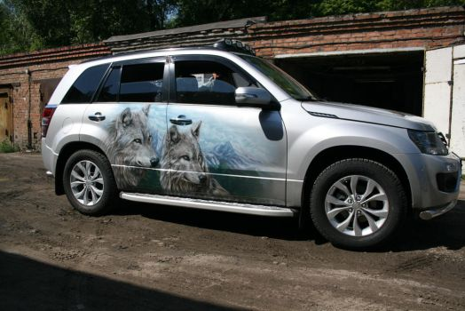 wolves on suzuki grand vitara 4 by hotabych