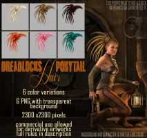 DreadLocks Ponytail Hair STOCK by Trisste-stocks