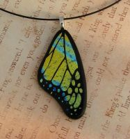 Yellow Blue Glass Wing by FusedElegance