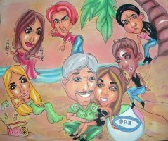 Caricature Commission b 081611 by raccoon-eyes