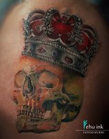 Skull with Crown tattoo by ellegottzi