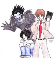 Death Note - Ryuk, L, Light by Rocket-Stevo
