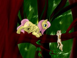 Fluttershy and cat by Lanternae