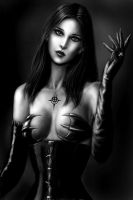 Ylanis Esaith the Demoness bw by dashinvaine