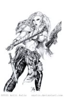 Gina, Esher Gang Leader BW by aautio