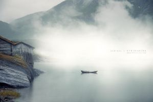 Boat in the mist by Stridsberg