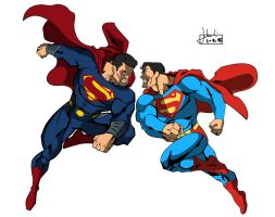 MAN OF STEEL vs. SUPERMAN by huatist