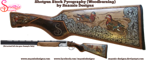 Shotgun Stock Pyrograph (Woodbruning) - Ducks by snazzie-designz