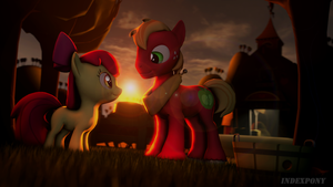 Two Apples at Sunset by indexpony
