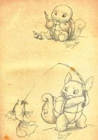 Squirtle and Wartortle fishing by Tsuani-Inushiro